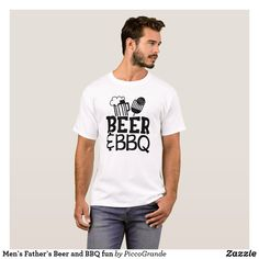 Men`s Father`s Beer and BBQ fun T-Shirt Cool T Shirts, Tee Shirts, Sky T, Geometric Graphic, Shirt Print Design, Fashion Graphic, A Team, Printed Shirts, Mens Fashion