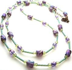 Long Beaded Necklace, Purple Green Bead Necklace, Women, Pretty Lime Green & Blackcurrant