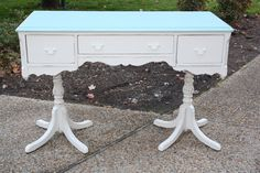 Cream and Pale Aqua Desk Antique White Desk, White Desks, Painted Furniture, Aqua, Shabby, Vanity, Cream, Antiques, Table