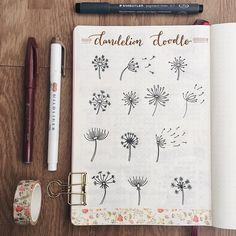 Bullet journal dandelion drawing ideas. | @evasbujo
