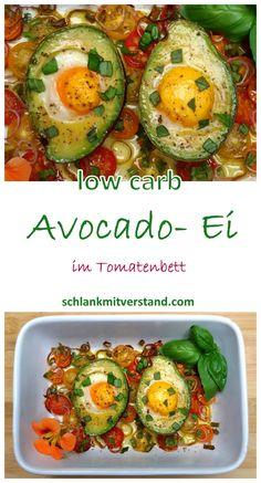 Avocado Ei im Tomatenbett low carb Ein schnelles LCHF Gericht, das zu jeder Mahlzeit des Tages schmeckt und wertvolle Nährstoffe liefert. Die Zutatenliste ist überschaubar und die Zubereitung sehr einfach. Zutaten pro Person: 1 Avocado Olivenöl für die Form 2 Eier, Größe S 10 kleine Tomaten 1 Schalotte 1 Frühlingszwiebel Salz, Pfeffer, Scharfmacher Gewürz-Blüten-Mischung #abnehmen #lowcarb #Rezept #deutsch #Ernährung #Gesundheit #LCHF #vegetarisch