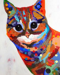 """Red Cat"", acrylic in canvas, size 80x120"