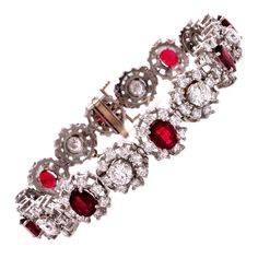 Ruby Diamond Gold Floral Bracelet | From a unique collection of vintage link bracelets at https://www.1stdibs.com/jewelry/bracelets/link-bracelets/