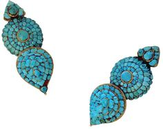 Earrings, Central Tibet, 19th c, gold and turquoise, The Metropolitan Museum of Art, John Stewart Kennedy Fund, 1915 (15.95.91, .92) #jewelry