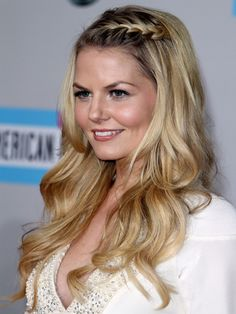 Jennifer Morrison growing out her bangs with style -- french braided fringe / accent braid