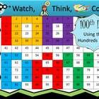 The perfect way to celebrate the 100th Day of School!  Watch, Think, Color! Students watch the board, think about the clues to figure out the numbe...