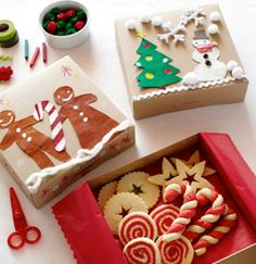 3 Crafty Cookie Containers | Pottery Barn Kids  Materials:    Craft paper boxes (one per child; available at craft stores)  Construction paper in festive colors (red, green, white)  Scissors  Markers, crayons or other drawing tools  Glue sticks  Craft supplies such as pom-poms, glitter and sequins