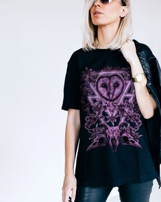 Match your mood corvidculture.com #CorvidCulture #Minerva #Owls #AltClothing #purple #owl #electric #art #graphic #tee