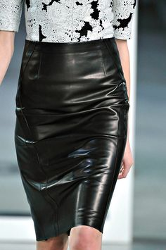 Leather luxe – derek lam fall 2012, black leather skirt, runway​