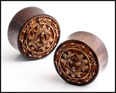 Pair Tribal Floral Design Carved Double Flare Organic Sono Wood Ear Plugs Gauges | eBay