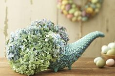"""Stylish Easter Decorations"" -- Several here; I love this cornucopia with the pastel hydrangeas!"