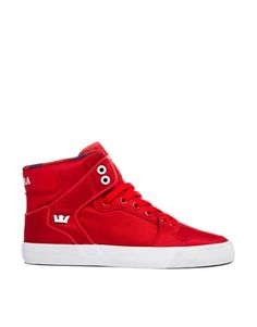Supra+Vaider+Red+High+Top+Trainers