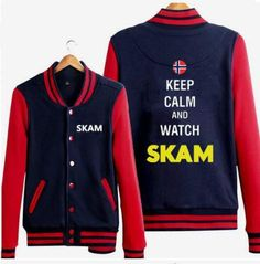 Keep calm and watch skam baseball jackets for guys color block sweatshirt with buttons