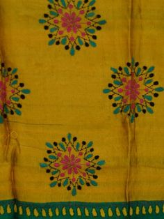 Incredible India Royal Saree Hand Loomed Pure by Zevadhi on Etsy Embroidery Neck Designs, Hand Embroidery Videos, Hand Embroidery Flowers, Hand Work Embroidery, Hand Embroidery Patterns, Beaded Embroidery, Embroidery Stitches, Machine Embroidery, Kutch Work Designs