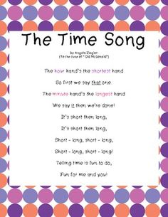 "Freebie!  These original lyrics, sung to ""Old McDonald"", will help your students learn how to tell time.  Enjoy!"