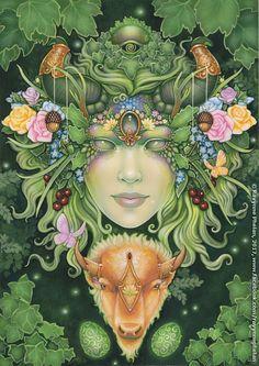 Ravynne Phelan - Dreams of Gaia Tarot and Fantasy Art Mother Earth Tattoo, Mother Nature Tattoos, Tarot By Cecelia, Gaia Goddess, Goddess Tattoo, Pagan Art, Psy Art, Visionary Art, Green Man