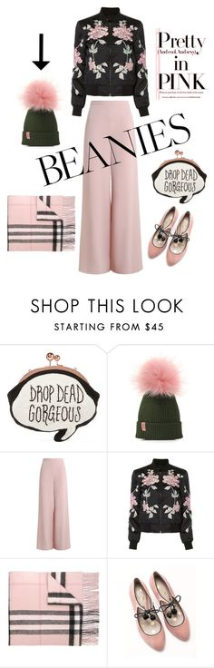 """""""Pink Pom Pom"""" by youaresofashion ❤ liked on Polyvore featuring Sophia Webster, Zimmermann, 3x1, Burberry, Boden and pompombeanies"""