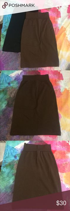 Bundle of 2 pencil skirts Cotton stretchy pencil skirts. Look at photos for measurements. 1 is black, 1 is brown. Black is made by Willow & Clay size medium. Brown is American Apparel size medium. Neither has been worn, brand new no tags. Can buy separate- ask if you'd like to. Prefer to sell both at once. American Apparel Skirts Pencil