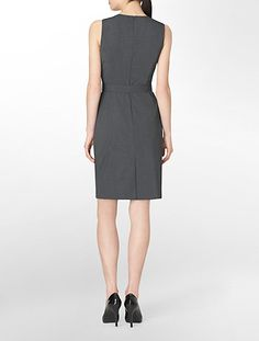 sleeveless belted charcoal dress | Calvin Klein