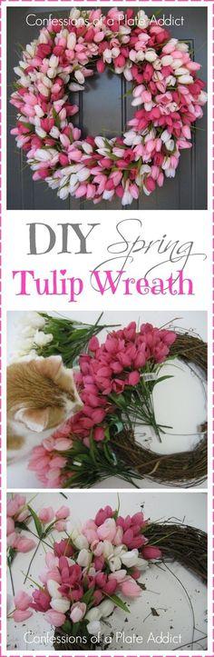 CONFESSIONS OF A PLATE ADDICT DIY Spring Tulip Wreath