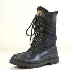 Coach Women's Laura Signature C Jacquard & Aniline Calf Leather Snow Boots, Style A7258 (Black) (11 M US Women) COACH. $158.00