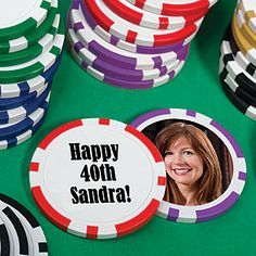Add your own wording to these personalized poker chips and choose your imprint design from ShindigZ large catalog of designs. Your design will be printed onto a sticker.