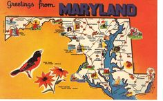 Maryland  State Map Postcard Greetings From by heritagepostcards, $2.75