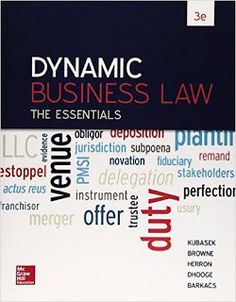 Free download or read online Dynamic business law the essentials, 3rd edition is a business book by Daniel Herron, and Nancy Kubasek.