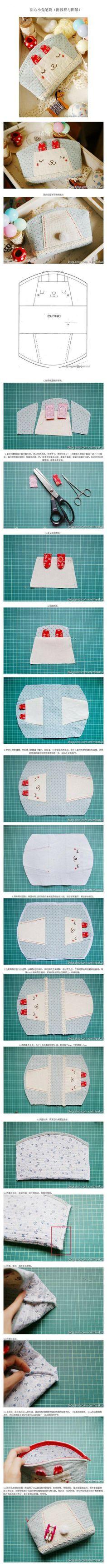 甜心小兔笔袋(附教程与图纸)
