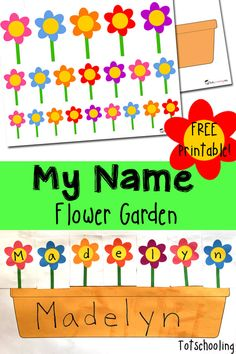 FREE printable name recognition activity for kids to practice their names while planting flowers. Great activity for Spring!