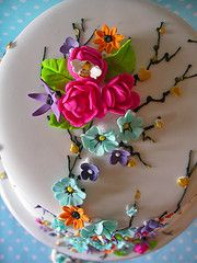"i used to make one similar to this years ago......a ""basket cake"" with a basket weave up the sides and flowers filling the top and cascading down. those were the days, and all from my little kitchen, raising my girls with hubby at work. :0)"