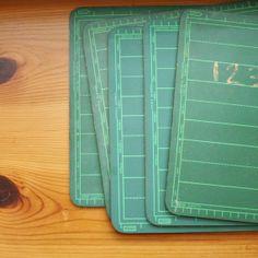 chalkboard green lined school supplies vintage
