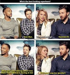 Anthony Mackie, Sebastian Stan, Scarlett Johansson, and Chris Evans