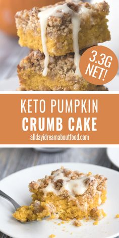 """Keto Pumpkin Crumb Cake Pumpkin Crumb Cake is the ultimate keto fall dessert recipe. Tender low carb cake with pumpkin and spice, and a delicious brown """"sugar"""" crumb topping. The perfect keto coffee cake recipe! Homemade Pumpkin Spice Latte, Pumpkin Spiced Latte Recipe, Keto Pumpkin Pie, Healthy Pumpkin, Ketogenic Recipes, Low Carb Recipes, Pumpkin Recipes Low Carb, Ketogenic Diet, Juice Recipes"""