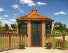 Design your backyard gazebo from the ground up with our step-by-step gazebo designer. Create a custom gazebo right from your computer. Large Gazebo, Screened Gazebo, Diy Gazebo, Hot Tub Gazebo, Gazebo Plans, Backyard Gazebo, Patio Roof, Backyard Landscaping, Gazebo Ideas