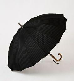 Maehara Koei's Umbrella, Black Pin Stripe, Bamboo Handle
