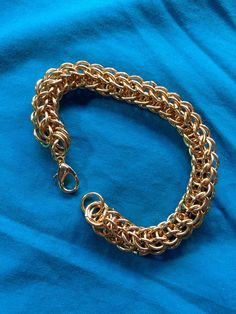 Chainmail all gold tone bracelet on AllenCreations website