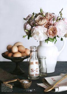 flowers, food, jug