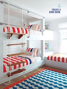 When you select your bunk beds, you should then always think of the most appropriate portion of the room to set them. The bunk beds are so helpful for elders also. Bunk beds for… Continue Reading → Beach Bungalows, House Interior, Kids Room Design, Beach House Interior, Home Decor, Coastal Bedrooms, Coastal Living Rooms, Home Bedroom, Built In Bunks