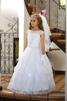 69fafe90d2e5 Angels Garment Big Girls White Embroidered Organza Bead Communion Dress 14