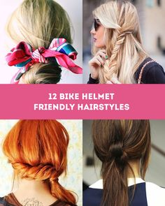 Don't compromise style while being safe. Here's 12 stylish bike helmet friendly … Don't compromise style while being safe. Here's 12 stylish bike helmet friendly styles that will leave you both safe & stylish. Motorcycle Hairstyles, Helmet Hair, Work Hairstyles, Hairstyles 2018, Vintage Hairstyles, Bike Style, Motorcycle Style, Freundlich, Hair Dos