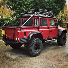 """landroverphotoalbum: """"A red take on the Spectre Defender 110 Crew Cab. Off Road Camper Trailer, Camper Trailers, Land Rover Defender 130, Landrover Defender, Expedition Vehicle, Offroad, Dream Cars, Concept Cars, Truck Flatbeds"""