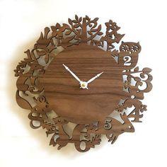 10 Modern Wall Clock Its My Forest Walnut by decoylab on Etsy.