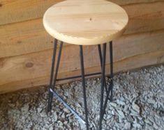 Raw Steel Hairpin Square Bar Stool Base FREE by TarheelCustomWood