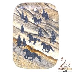 Western Pendant Carved Hand Painted Horses Natural Picture Jasper ZL00316 #ZL #Pendant