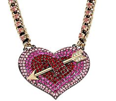 HEARTS AND ARROWS BIG PAVE HEART NECKLACE: Betsey Johnson
