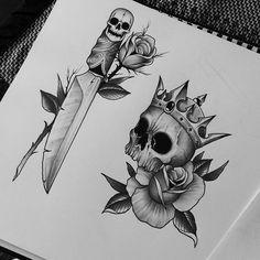 """Going to tattoo them next week #edwardmiller #tattoo #blackwhite #skulls…"