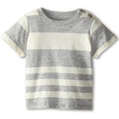 Vince Kids Stripe Tee (Infant) ($28) ❤ liked on Polyvore featuring heather steel stripe and shirts & tops