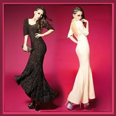 78.95$  Buy now - http://viuld.justgood.pw/vig/item.php?t=r9jd3j123610 - Black or Apricot Backless Chiffon Empire Waist Puff Sleeve Trumpet Mermaid Gown 78.95$