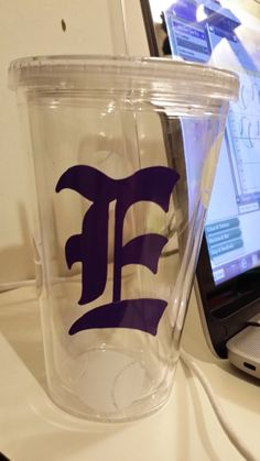 16 oz. Double Walled Insulated Acrylic Tumbler - Personalized with E and Baseballs